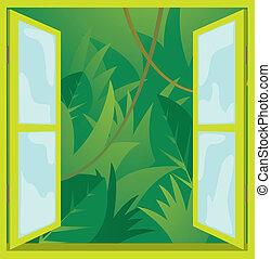 finestra, giungla, /, natura