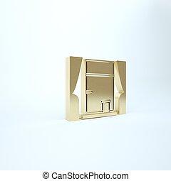 finestra, icona, stanza, render, oro, isolato, illustrazione, fondo., tenda, 3d, bianco
