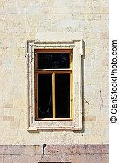 finestra, in, il, storico, architettonico, costruzione