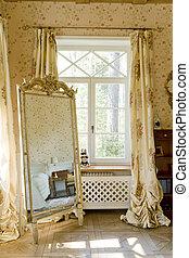 finestra, in, uno, camera letto, con, uno, specchio