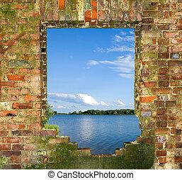 finestra, in, uno, muro di mattoni, con, uno, tipo, su, il, fiume