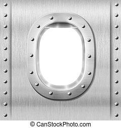 finestra, metallo, o, fondo, oblò