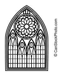 finestra, per, chiese, e, monasteri