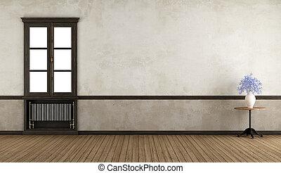 finestra, retro, stanza vuota