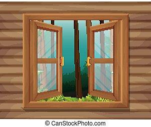finestra, scena, natura