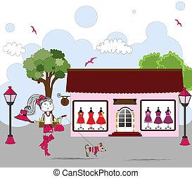 finestra, shopping donna, cane, cartone animato