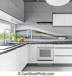 finestra, spazioso, cucina