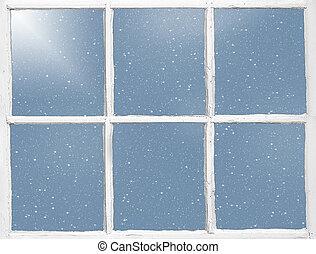 finestra, vecchio, fiocchi neve