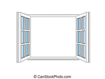 finestra, vettore, aperto, illustrazione, plastica