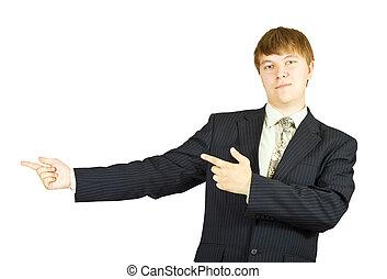 finger, affärsman, pekande, henne