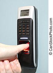 finger, afsøge, garanti, by, indskrivning, server, room., en, fingeraftryk, maskine, server, sikkerhed
