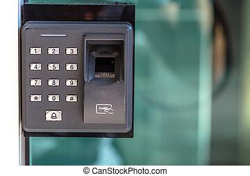 finger, afsøge, garanti, dør nøgle, lock.
