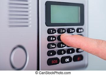 finger, alarm, sæt, garanti, person
