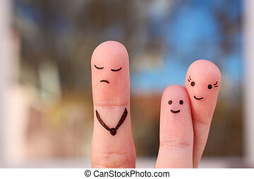 Finger art of family during quarrel. Concept of child is friends with his mother. Idea parents divorced, kid remained with mom.