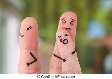 Finger art of family during quarrel. Concept of child remained with father, mother left to go out. Baby cries.