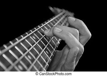 finger, auf, gitarre, fretboard