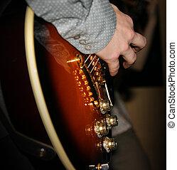 finger, auf, gitarre
