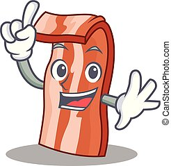 Finger bacon mascot cartoon style vector illustration