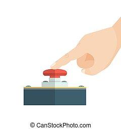 finger, berühren, button., rotes , alarm