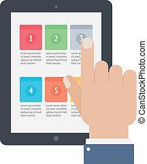 finger, berühren, tablette, app, schirm