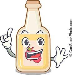 Finger bottle apple cider above cartoon table
