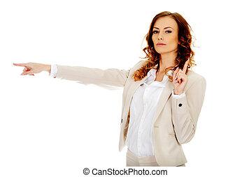 finger., businesswoman, wijzende, aantrekkelijk, haar