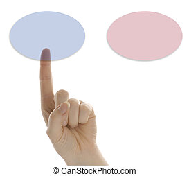pointed finger pressing a touch screen button