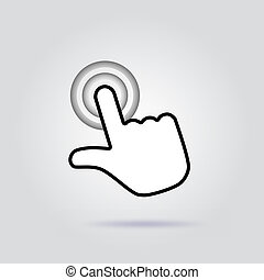 Finger click icon on gray background with soft shadow