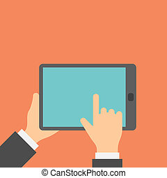 Finger clicks on tablet display with touch screen.