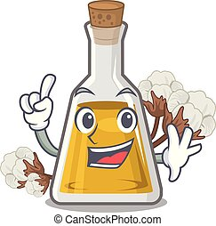 Finger cottonseed oil at the cartoon table vector ...