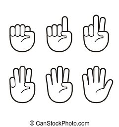 Finger count hand icons