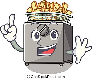 Finger deep fryer machine isolated on mascot vector...