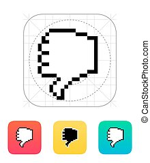 Finger down. Pixel hand cursor icon.