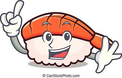 Finger ebi sushi mascot cartoon