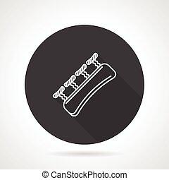 Finger expander black round vector icon