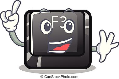 Finger f3 button installed on cartoon computer