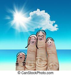 finger, familj, resar, stranden, och, sjungande, a, sång