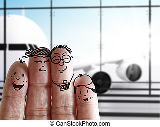 finger family at the airport