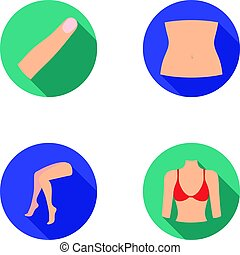 Finger, female feet, female, bust. Part of the body set collection icons in flat style vector symbol stock illustration web.
