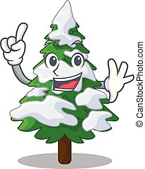 Finger fir with snow christmas tree cartoon