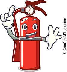 Finger fire extinguisher mascot cartoon