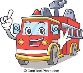 Finger fire truck mascot cartoon