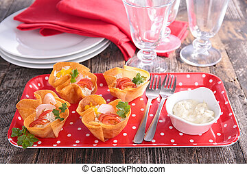 finger food, crispy canape with cheese