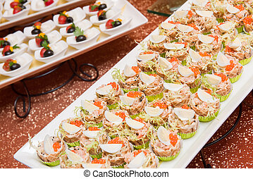 Finger food. Fish, roe, egg - Finger food of fish, roe and ...
