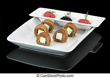 Finger food. Salmon stuffed with cheese