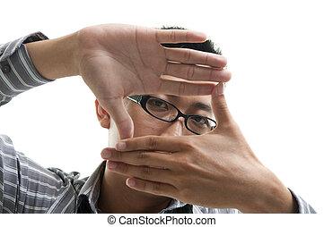Finger frame businessman