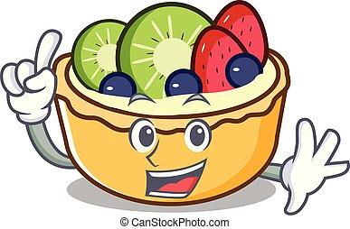 Finger fruit tart mascot cartoon