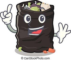 Finger garbage bag behind the character door