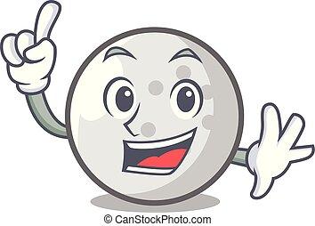 Finger golf ball mascot cartoon