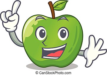 Finger green smith apple isolated on cartoon